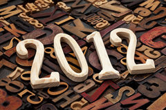 Year of 2012 in letterpress type Royalty Free Stock Image