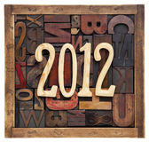 Year 2012 and letterpress type Royalty Free Stock Photos