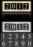 Year 2012 And Numbers_eps. Illustration of Year 2012 with metal gold and silver frame, refection effect, numbers to instead. --- This .eps file info Document: A4 vector illustration