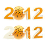 Year 2012 sign: numbers crashed by basketball ball. Isolated on white Royalty Free Stock Photography