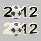 Year 2012 sign: numbers crashed by football ball Stock Images