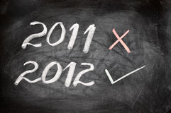 Year 2012 written on a blackboard Royalty Free Stock Photos