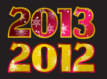 Year 2012, year 2013 Vector. New year 2013, end of year 2012 Card Vector Royalty Free Stock Images