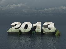 The year 2013. Fallen 2013 monument at the ocean - 3d illustration Royalty Free Stock Photos