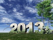 Year 2013. Stone monument 2013 under cloudy blue sky - 3d illustration Royalty Free Stock Photo
