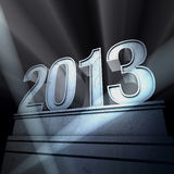 Year 2013. Number 2013 on a silvery pedestal at a black background stock illustration