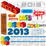 Year 2013. 2013 Year. Calendar and Labels. Week Starts on Monday Royalty Free Stock Images