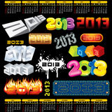 Year 2013. Design. Week Starts on Sunday Vector Illustration