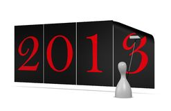Year 2013. Sticking posters of the new year 2013 Royalty Free Stock Images