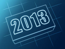 Year 2013 in blue glass block Royalty Free Stock Photography