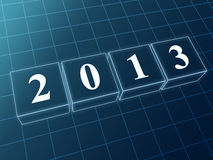 Year 2013 in blue glass blocks. Text year 2013 in 3d blue glass boxes with white figures like ciphers stock illustration