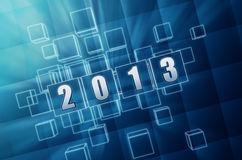 Year 2013 in blue glass blocks. Text year 2013 in 3d blue glass boxes with white figures like ciphers Stock Photography