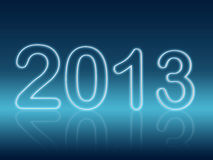 Year 2013 in blue shining figures. Year 2013 in 3d shining figures with reflection over blue background Stock Photography