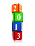 Year 2013 in color cubes. 3d color cubes with white figures like ciphers - year 2013 Stock Image