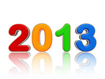 Year 2013 in colored figures. Year 2013 in 3d isolated colored figures with reflection Royalty Free Stock Photography