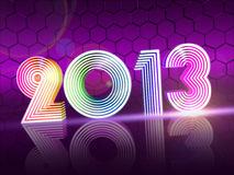 Year 2013 in colored shining figures. Year 2013 in 3d rainbow colored shining figures, disco number Royalty Free Stock Photos