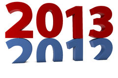 Year 2013 comes after 2012. The year 2013 comes after 2012 on white background Stock Photos