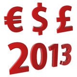 Year 2013, currency € $ £ Stock Photo