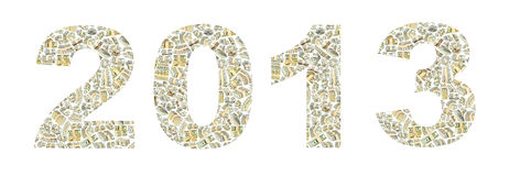 Year 2013 from dollars Royalty Free Stock Photo