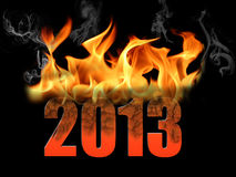Year 2013 in Fire Text. This is the year 2013 is fire text, crackled and burnt with smoke and flames. Black background and horizontal format Vector Illustration