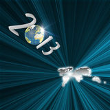 Year 2013 Flying to earth map. As Futuristic concept Stock Photography