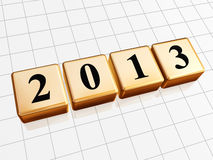 Year 2013 in golden cubes. 3d golden cubes with black figures like ciphers - year 2013 Stock Image
