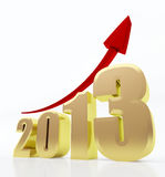 Year 2013 growth chart. 3d rendered image of golden 2013 text with a red rising arrow sign Royalty Free Stock Image