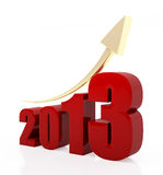 Year 2013 growth chart. 3d rendered image of red 2013 text with a golden rising arrow sign Stock Images