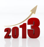 Year 2013 growth chart. 3d rendered image of red 2013 text with a golden rising arrow sign stock illustration