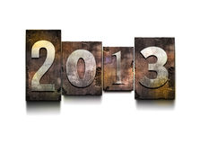 Year 2013 letterpress. Royalty Free Stock Image