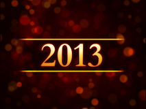 Year 2013 over red background with lights dots. Abstract red background card with golden figures year 2013 and lights dots royalty free illustration