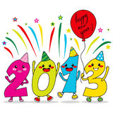 Year 2013 Party. Year 2013 cartoon characters celebrating happy new year party Royalty Free Stock Image