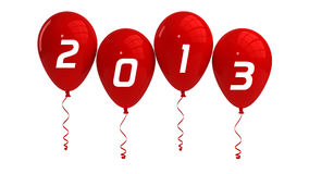 Year 2013 Red Balloons. Happy new year 2013 balloons, isolated Stock Images