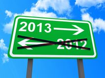 Year 2013 sign. Illustration of directional sign pointing to the year 2013 with blue sky and cloudscape background Royalty Free Stock Photography