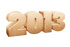 Year 2013 sign. Formed from grains of sand, white background vector illustration