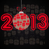 Year 2013 sign. Illustration of year 2013 sign with Christmas bauble, presents in background stock illustration