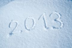 Year 2013 written in the Snow Royalty Free Stock Photography