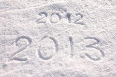 Year 2013 written in snow. Close-up Royalty Free Stock Image
