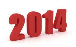 Year 2014. New year 2014 in red  on white background Royalty Free Stock Photo