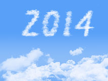 Year 2014 on clouds background. Stock Photo
