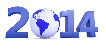 Year 2014 with globe as Zero. The year 2014 in 3D letters with blue globe as a Zero stock illustration