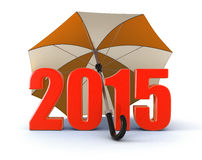 Year 2015 under umbrella (clipping path included) Royalty Free Stock Photos
