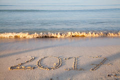 Year 2017 written on the sand Royalty Free Stock Photo