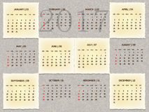Year 2017 abstract vintage calendar. 2017 grey and maroon vintage calendar Stock Image