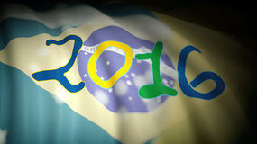 2016 year against of Brazil flag. 3D rendering of 2016 against of waving Brazil flag Royalty Free Stock Images