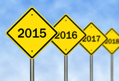 Year Ahead. Image to use in an optimistic view on year 2015. Can be also used for review of the year 2015 Royalty Free Stock Photo