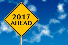 2017 year Ahead traffic sign. 3d rendering. 2017 year Ahead traffic sign on a blue sky background. 3d rendering Stock Photography