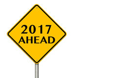 2017 year Ahead traffic sign. 3d rendering. 2017 year Ahead traffic sign on a white background. 3d rendering Royalty Free Stock Image