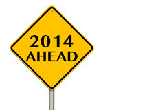 2014 year Ahead traffic sign Royalty Free Stock Photography