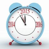 2015 year on alarm clock. 3d icon on white Royalty Free Stock Photo